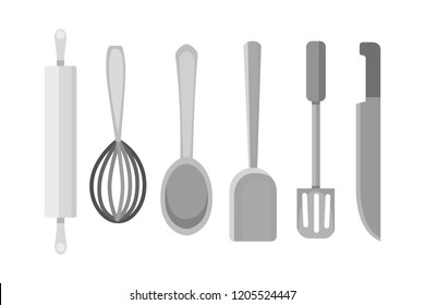 Set Kitchen Utensils. cooking tools flat style. cook equipment isolated objects