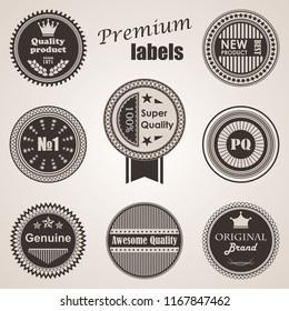 Set of labels. Premium quality labels. Round labels and icons. Raster version of the illustration