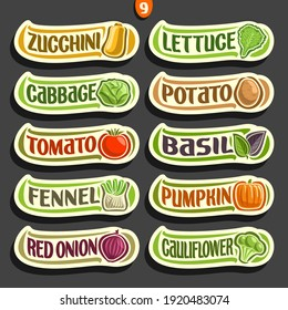 Set labels with text for fresh Vegetables: 10 minimal signs of organic vegetables on black, set of cartoon simple stickers for packing vegan nutrition with original font, tags for veg produce.