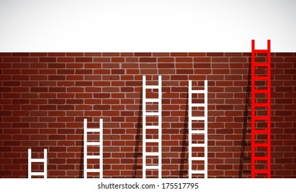 set of ladders and brick wall. illustration design graphic