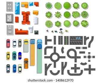 Set of landscape elements. Houses, architectural elements, plants. Top view. Road, cars, people, houses trees illustration in flat style