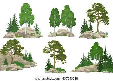 Set Landscapes, Coniferous and Deciduous Trees, Pine, Fir Tree, Birch, Flowers and Grass on the Rocks, Isolated on White Background.
