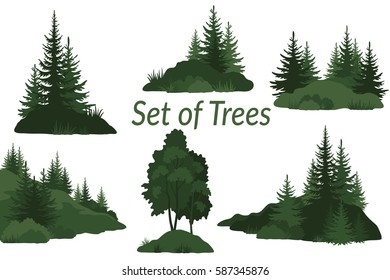 Set Landscapes, Isolated on White Background Green Silhouettes Coniferous and Deciduous Trees and Grass on the Rocks