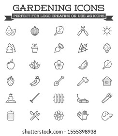 Set of Landscaping Related Raster Line Icons. Plants, agriculture, lawn, trees, gardening and more.