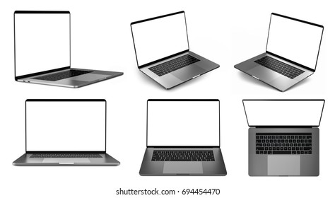 Set of laptops in different positions. 3d illustration.