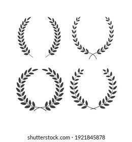 Set of laurel wreaths of different shapes isolated on white background