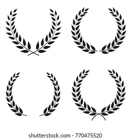 Set of laurel wreaths of different shapes isolated on white background.