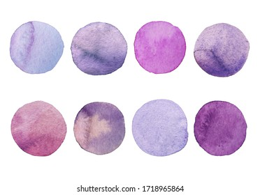 Set of Lavender watercolor dot. Hand painted Spots on a white background. Round, circle. Isolated. Blobs of different color