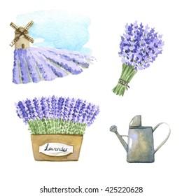 Set of lavender watercolor elements.