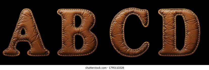 Satz von Lederbriefen A, B, C, D Großbuchstaben. 3D-Rendering-Schriftart mit Hautstruktur einzeln auf schwarzem Hintergrund. 3D-Rendering