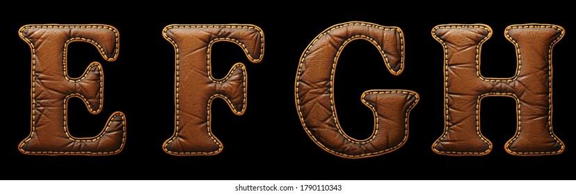 Satz von Lederbriefen E, F, G, H Großbuchstaben. 3D-Rendering-Schriftart mit Hautstruktur einzeln auf schwarzem Hintergrund. 3D-Rendering