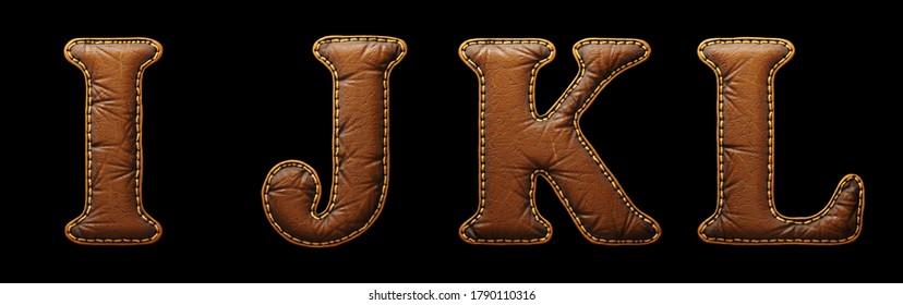 Satz Lederbriefe I, J, K, L Großbuchstaben. 3D-Rendering-Schriftart mit Hautstruktur einzeln auf schwarzem Hintergrund. 3D-Rendering
