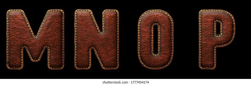Satz von Lederbriefen M, N, O, P Großbuchstaben. 3D-Rendering-Schriftart mit Hautstruktur einzeln auf schwarzem Hintergrund. 3D-Rendering