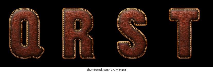 Satz von Lederbriefen Q, R, S, T Großbuchstaben. 3D-Rendering-Schriftart mit Hautstruktur einzeln auf schwarzem Hintergrund. 3D-Rendering