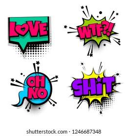set lettering. Comics book balloon. Bubble icon speech pop art phrase. Cartoon font label expression. Comic text sound effects illustration.