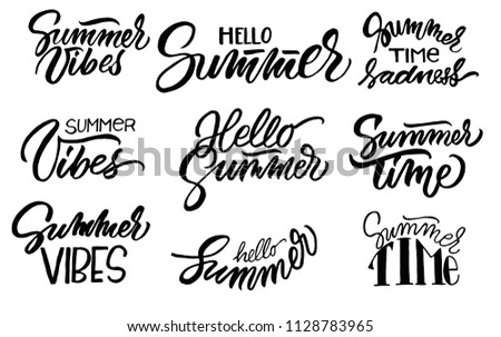Set Lettering Quotes About Summer Mood Stock Illustration Royalty