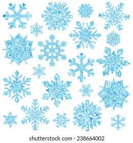 Set of light blue crystal snowflakes isolated on white background. High resolution 3D image