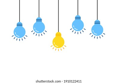 set of lightbulb with one unique idea. concept of think outside the box or fun fact and shiny lamp on wire like discovery. flat cartoon graphic art minimal abstract design isolated on white background