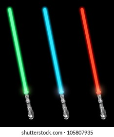 Set of lightsabers - 3d illustration on black background