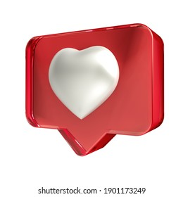 Set Like hearts icon on a red acrylic pin isolated on white background.  Illustration 3D