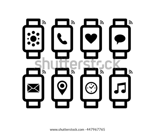 Set of line art style smart watch designs with social app notification on screen, includes gps, mail, music and message icons.