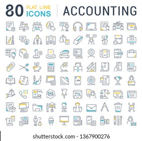 Set of line icons of accounting for modern concepts, web and apps.