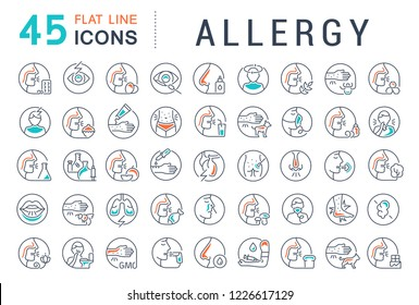 Set of line icons of allergy for modern concepts, web and apps. Raster version.