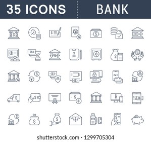 Set of line icons of bank for modern concepts, web and apps.