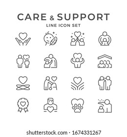 Set line icons of care and support isolated on white. Mother protection, friend hug, volunteer sign, child protect, charity service