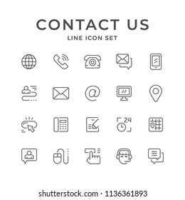 Set line icons of contact us isolated on white