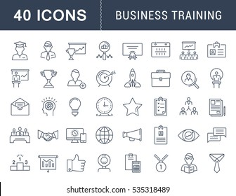 Set  line icons in flat design and development, training course, business meeting with elements for mobile concepts and web apps. Collection modern infographic logo. Raster Version.