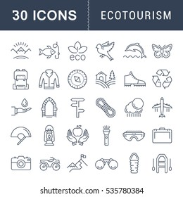 Set  line icons in flat design eco, ecotourism and recycle with elements for mobile concepts and web apps. Collection modern infographic logo and pictogram. Raster version.