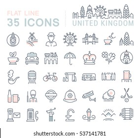 Set  line icons in flat design United Kingdom, England, Ireland and Scotland with elements for mobile concepts and web apps. Collection modern infographic logo and pictogram. Raster version.