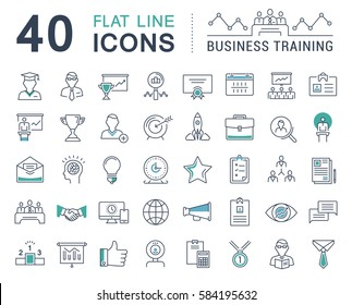 Set  line icons in flat design business training and development, training course, business meeting with elements for mobile concepts and web apps. Collection modern infographic logo. Raster version.