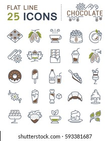 Set  line icons in flat design chocolate, dessert, cacao and candy with elements for mobile concepts and web apps. Collection modern infographic logo and pictogram. Raster version.