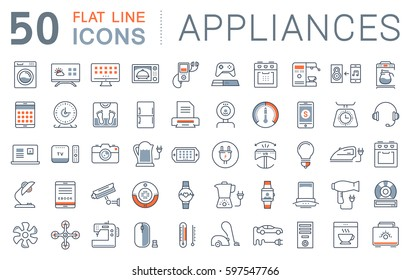 Set  line icons in flat design appliance, smart devices and gadgets, modern web icons and symbols with elements for mobile concepts and web apps. Raster version.