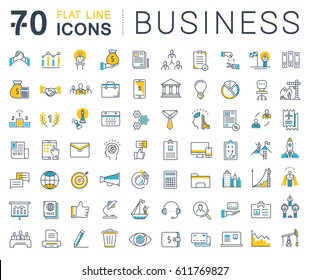 Set line icons in flat design business, finance and teamwork with elements for mobile concepts and web apps. Collection modern infographic logo and pictogram. Raster version.