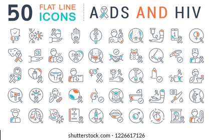 Set of line icons with flat elements of AIDS and HIV for modern concepts, web and apps. Raster version.