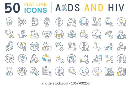 Set of line icons with flat elements of AIDS and HIV for modern concepts, web and apps.