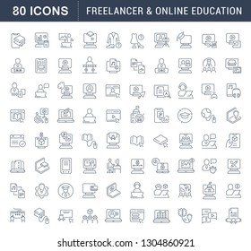 Set of line icons of freelancer and online education for modern concepts, web and apps.