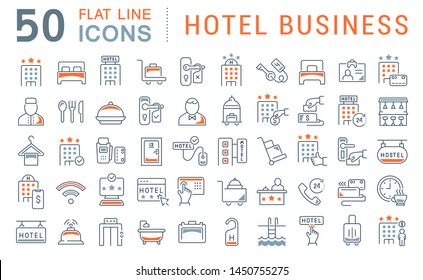 Set of line icons of hotel business for modern concepts, web and apps.