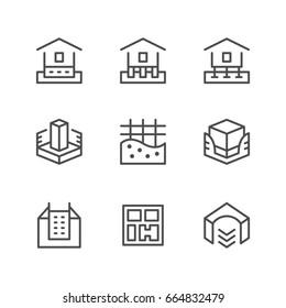 Set line icons of house foundation isolated on white