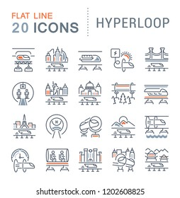 Set of line icons of hyperloop for modern concepts, web and apps.