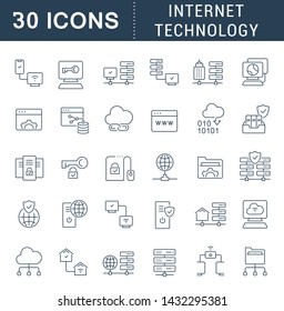 Set of line icons of internet technology for modern concepts, web and apps.