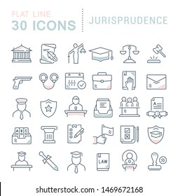 Set of line icons of jurisprudence for modern concepts, web and apps.