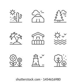 Set line icons of landscape isolated on white