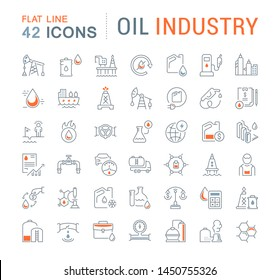 Set of line icons of oil industry for modern concepts, web and apps.