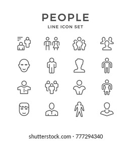 Set line icons of people isolated on white