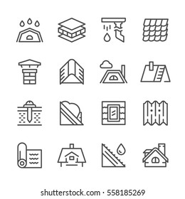 Set line icons of roof isolated on white