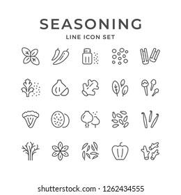 Set line icons of seasoning isolated on white